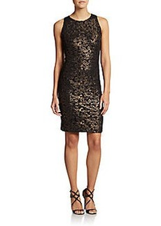 Carmen Marc Valvo Collection Embroidered Shimmer Sheath Dress