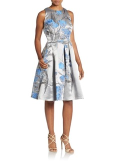 Carmen Marc Valvo Collection Floral Brocade A-Line Dress