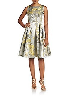 Carmen Marc Valvo Collection Floral Brocade Fit-And-Flare Dress