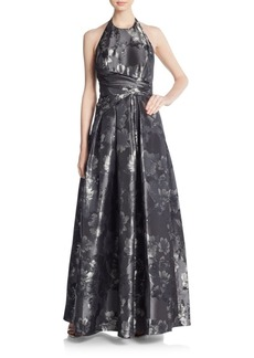 Carmen Marc Valvo Collection Floral Brocade Gown