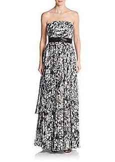 Carmen Marc Valvo Collection Floral Chiffon Strapless Empire Gown