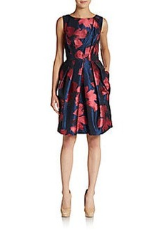 Carmen Marc Valvo Collection Floral Fit-And-Flare Satin Dress