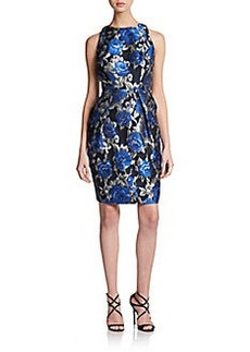 Carmen Marc Valvo Collection Floral Jacquard Sleeveless Sheath Dress