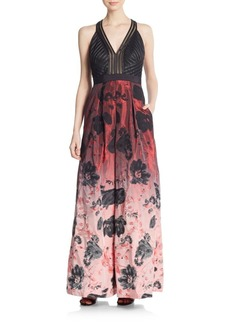 Carmen Marc Valvo Collection Floral Ombré Gown
