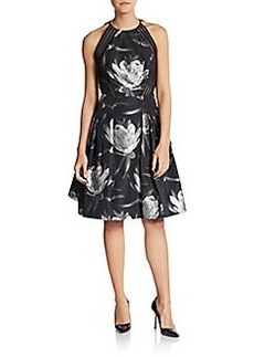 Carmen Marc Valvo Collection Floral-Print Mesh Stripe Dress