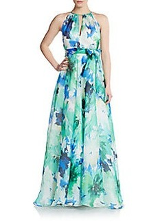 Carmen Marc Valvo Collection Floral-Print Silk Maxi Dress