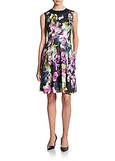 Carmen Marc Valvo Collection Floral-Print Sleeveless Dress