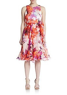 Carmen Marc Valvo Collection Floral-Silk Fit-&-Flare Dress