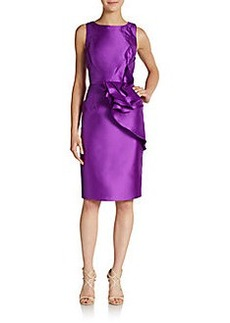 Carmen Marc Valvo Collection Flounce-Detailed Taffeta Dress