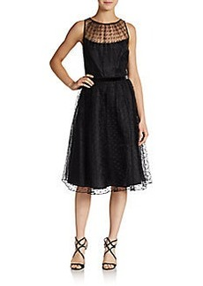 Carmen Marc Valvo Collection Illusion-Top Fit-And-Flare Dress