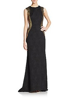 Carmen Marc Valvo Collection Jacquard-Panel Lace Gown