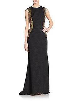 Carmen Marc Valvo Collection Jacquard-Panel Lace Gown