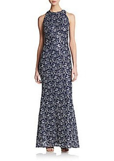 Carmen Marc Valvo Collection Lace Cutaway Sheath Gown
