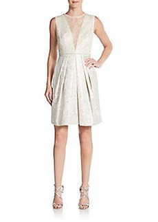 Carmen Marc Valvo Collection Lace Illusion-Bodice Dress