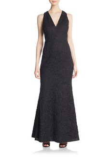 Carmen Marc Valvo Collection Lace V-Neck Gown