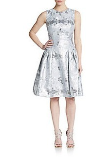 Carmen Marc Valvo Collection Metallic Drop-Waist Dress