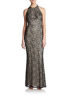 Carmen Marc Valvo Collection Metallic Lace Halterneck Gown