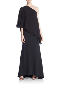Carmen Marc Valvo Collection One-Shoulder Capelet Gown