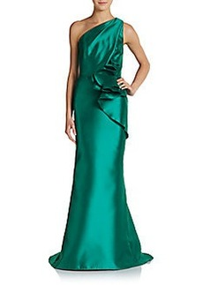 Carmen Marc Valvo Collection One-Shoulder Taffeta Gown