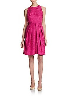 Carmen Marc Valvo Collection Pleated Jacquard Party Dress