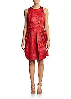 Carmen Marc Valvo Collection Pleated Rose Jacquard Dress