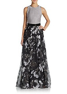 Carmen Marc Valvo Collection Printed Organza-Paneled Gown