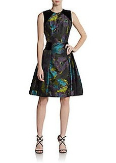 Carmen Marc Valvo Collection Printed Velvet Paneled Fit-And-Flare Dress