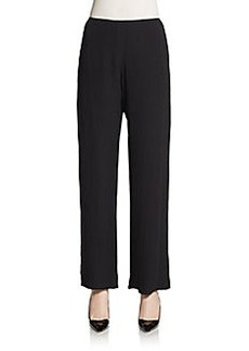 Carmen Marc Valvo Collection Silk Chiffon Wide-Leg Pants