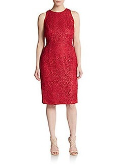 Carmen Marc Valvo Collection Sleeveless Metallic Lace Sheath Dress