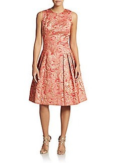 Carmen Marc Valvo Collection Sleeveless Rose Brocade Dress