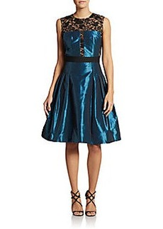 Carmen Marc Valvo Collection Taffeta & Lace Cocktail Dress