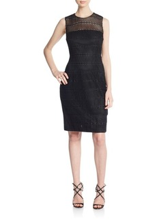 Carmen Marc Valvo Collection Textured Sheath Dress