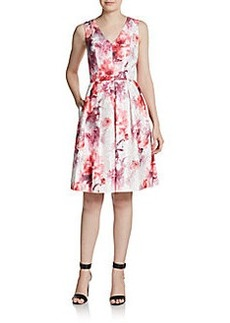 Carmen Marc Valvo Collection V-Neck Floral Dress