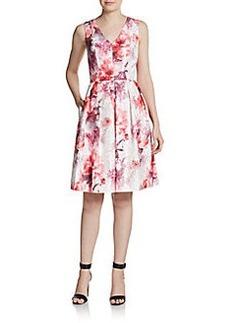 Carmen Marc Valvo Collection V-Neck Floral Dress