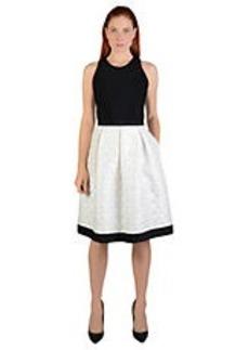CARMEN MARC VALVO Colorblock Pleated A-Line Dress