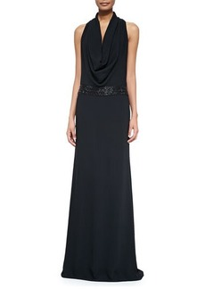 Carmen Marc Valvo Cowl-Neck Beaded-Waist Gown