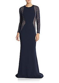 Carmen Marc Valvo Crepe Beaded Sheath Gown