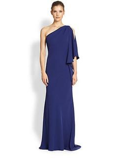 Carmen Marc Valvo Crepe One-Shoulder Gown