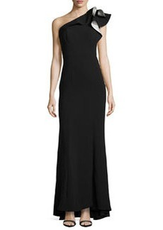Carmen Marc Valvo Crepe One Shoulder Ruffle Gown, Black-Ivory