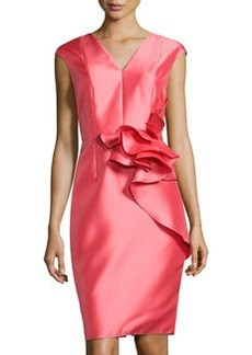 Carmen Marc Valvo Crepe Ruffle-Detail V-Neck Dress, Coral