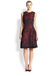 Carmen Marc Valvo Croc-Pattern Two-Tone Party Dress