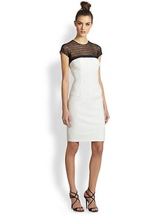 Carmen Marc Valvo Crochet Lace & Polka Dot Twill Cocktail Dress