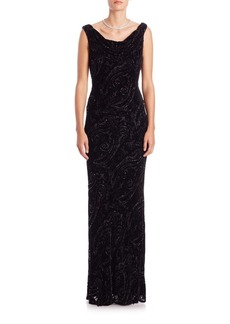 Carmen Marc Valvo Devore Beaded Gown