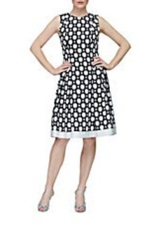 CARMEN MARC VALVO Dot Print Pleated Fit and Flare Dress