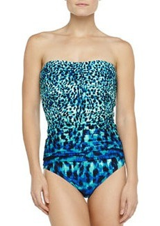 Carmen Marc Valvo Dotted Ikat-Print Shirred Swim Bottom, Lapis