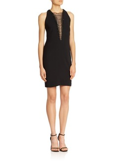 Carmen Marc Valvo Draped Chain Cocktail Dress