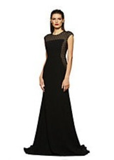CARMEN MARC VALVO Embellished Cap Sleeve Gown
