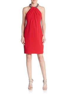 Carmen Marc Valvo Embellished Crepe Halter Dress