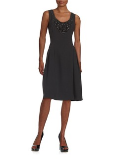 CARMEN MARC VALVO Embellished Dropped-Waist Dress