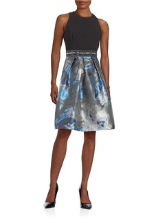 CARMEN MARC VALVO Embellished Fit-and-Flare Dress